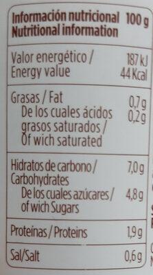 Pulpa de pimiento choricero - Información nutricional - es