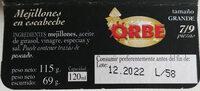 Mejillones en escabeche - Ingredientes