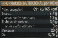 Mejillones en escabeche - Información nutricional