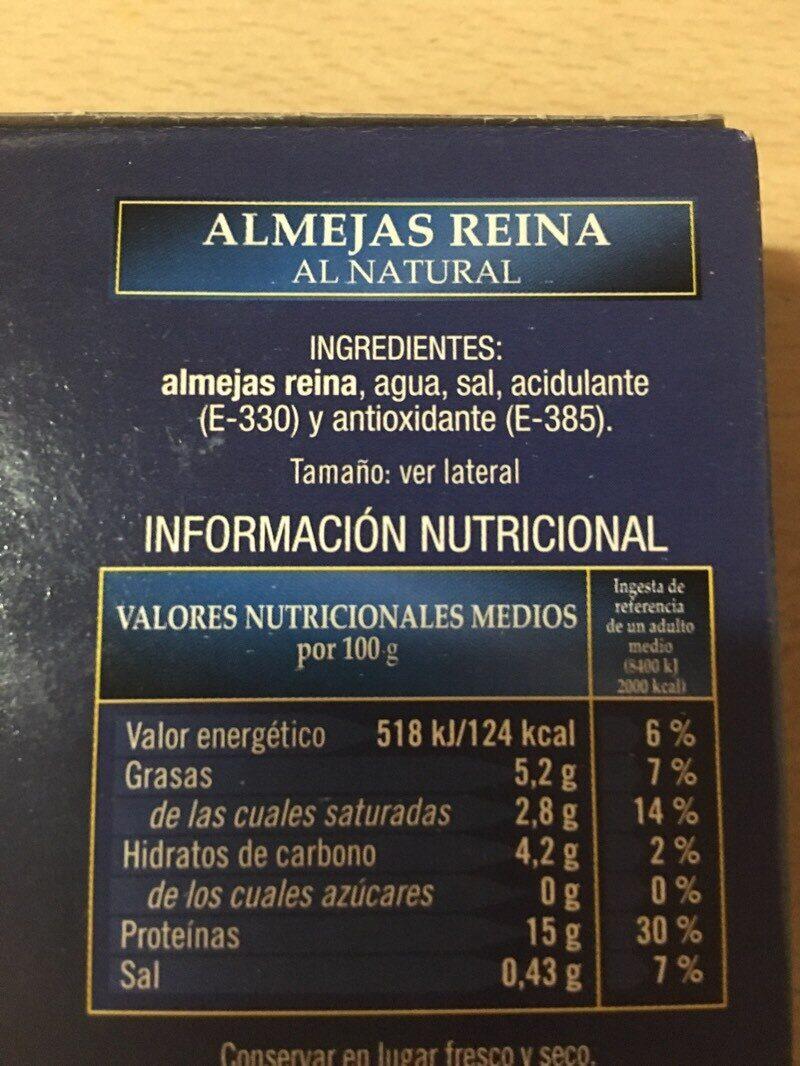 Almejas reina al natural - Ingredientes - es
