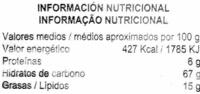 Aros de maíz - Información nutricional - es