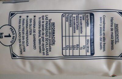 Harina de maíz blanco - Información nutricional - es