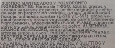 Mantecados y polvorones con grasa vegetal - Ingredients