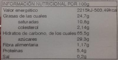 Mantecados y polvorones con grasa vegetal - Información nutricional