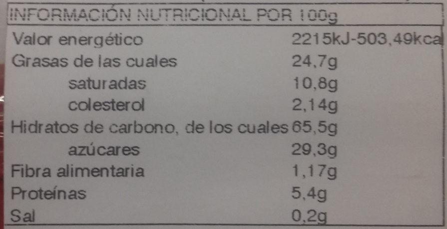 Mantecados y polvorones con grasa vegetal - Informations nutritionnelles