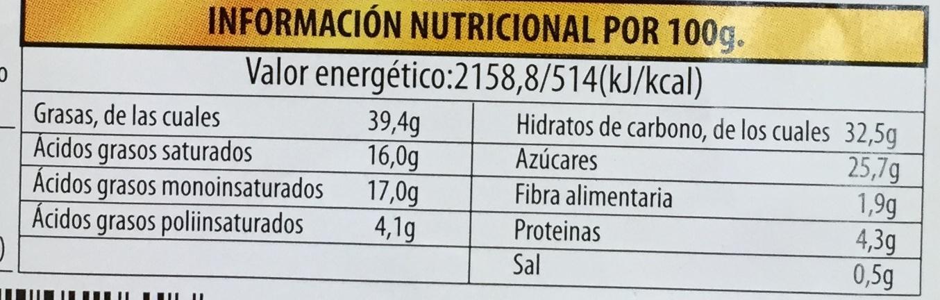 Hojaldradas rellenas de crema - Informació nutricional