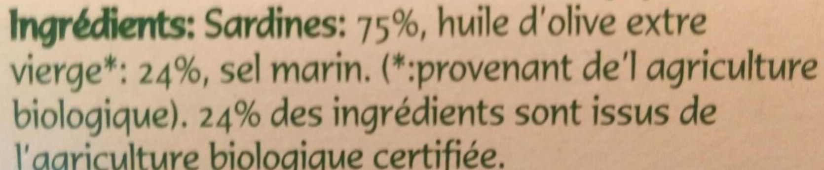 Sardines à l'Huile d'Olive Biologique - Ingrediënten - fr
