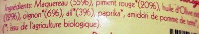 Terrine de Maquereaux aux Piments Biologiques - Ingrédients - fr