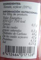 Tomate Caramelizado - Voedingswaarden - es