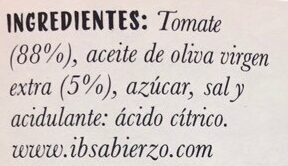 Tomate Frito - Ingredients - es