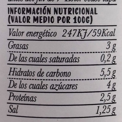 Sofrito de Tomate - Informations nutritionnelles