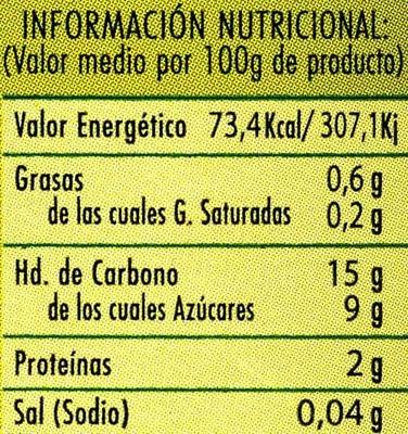 Puré de manzana reineta con canela - Voedingswaarden