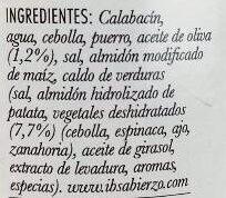 Crema de calabacín - Ingredients - es