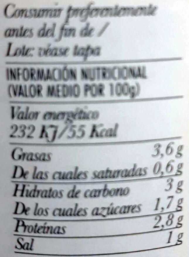 Crema de calabacín - Nutrition facts - es