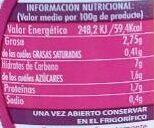 Crema de zanahoria - Informations nutritionnelles - es