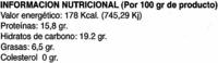 Hamburguesa vegetal de soja sabor barbacoa - Información nutricional