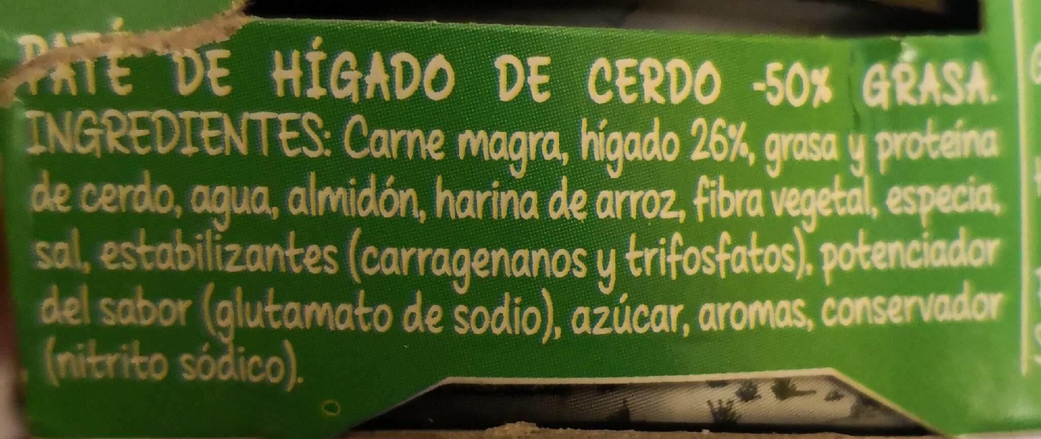 Paté de hígado de cerdo bajo en materia grasa - Ingrédients