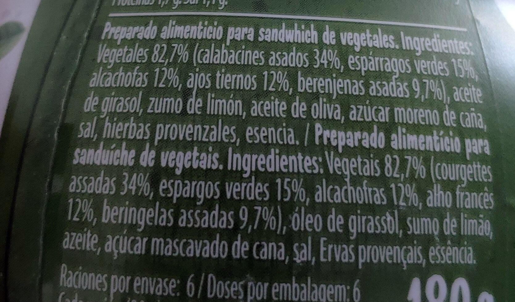 Bocadelia Veggie calabacín - Ingredients - es