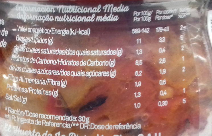 Verduritas para tostas - Información nutricional - es