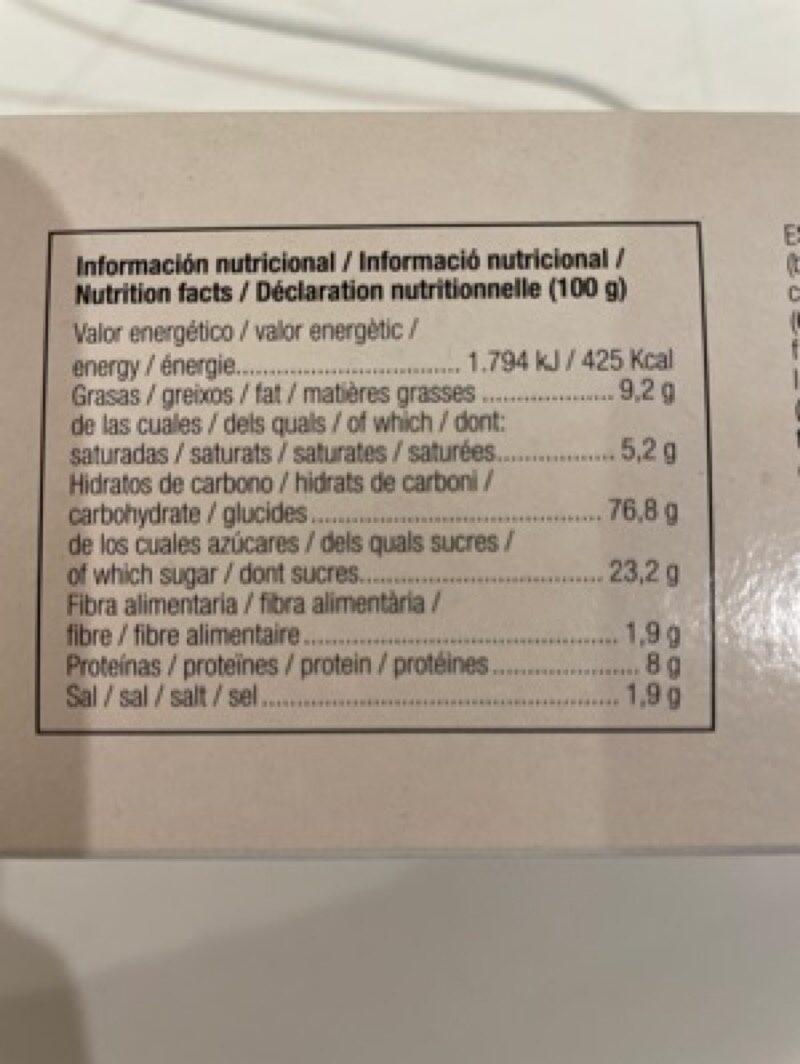 Nuria original galletas naturales sin aceite de palma - Nutrition facts - es