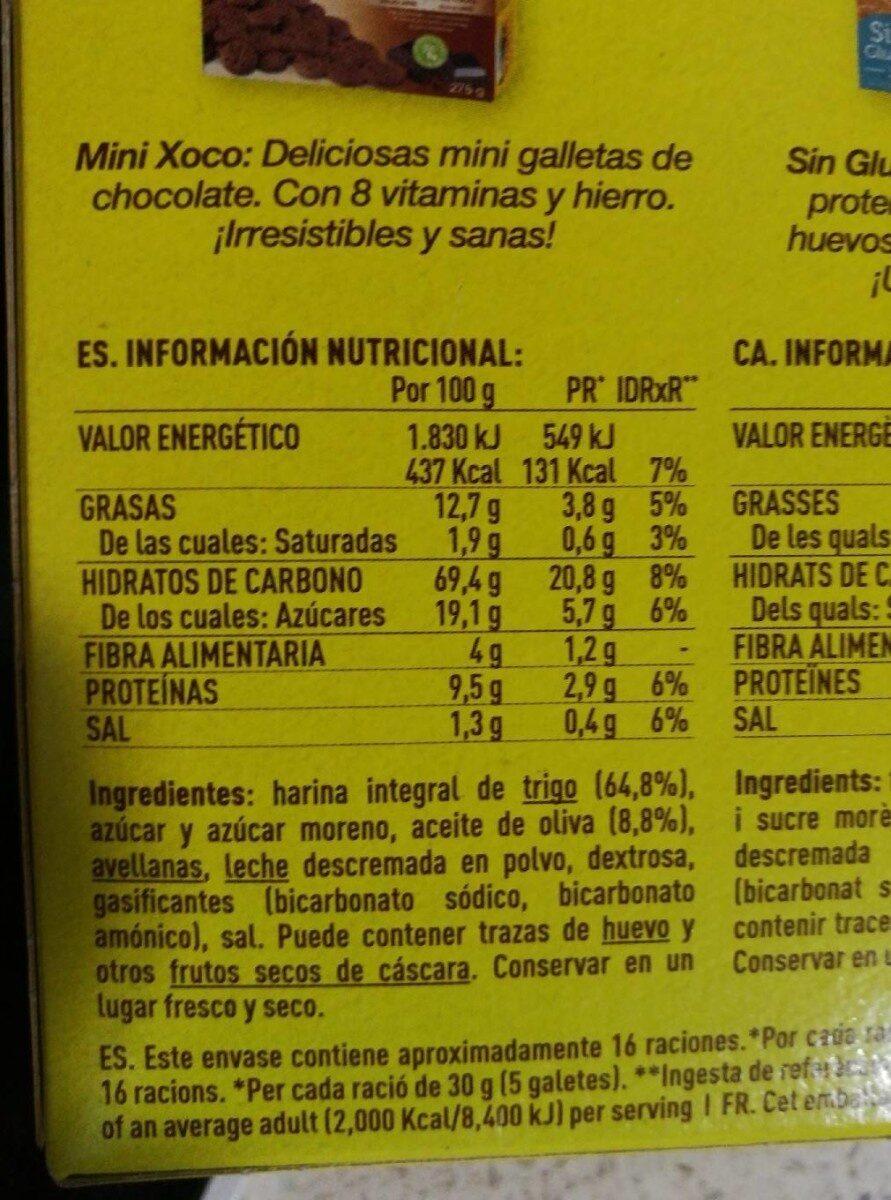 Nuria galletas integrales y naturales, sin aceite de palma - Informations nutritionnelles - fr