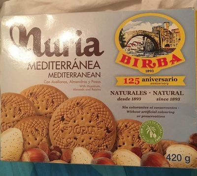 Nuria mediterránea galletas frutos secos, pasas - Producto - fr