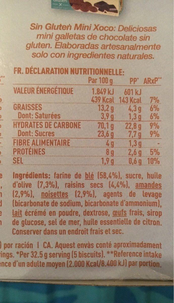 Nuria mediterránea galletas frutos secos, pasas - Ingredientes - fr