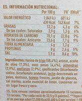 Nuria mediterránea galletas frutos secos, pasas - Información nutricional - fr