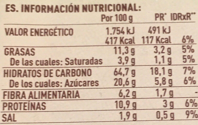 Nuria galletas naturales con soja, sin gluten - Informació nutricional