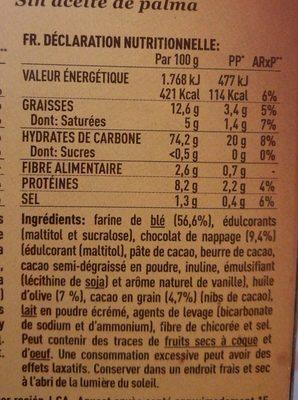 Nuria galletas naturales con chocolate sin azúcar - Ingrediënten