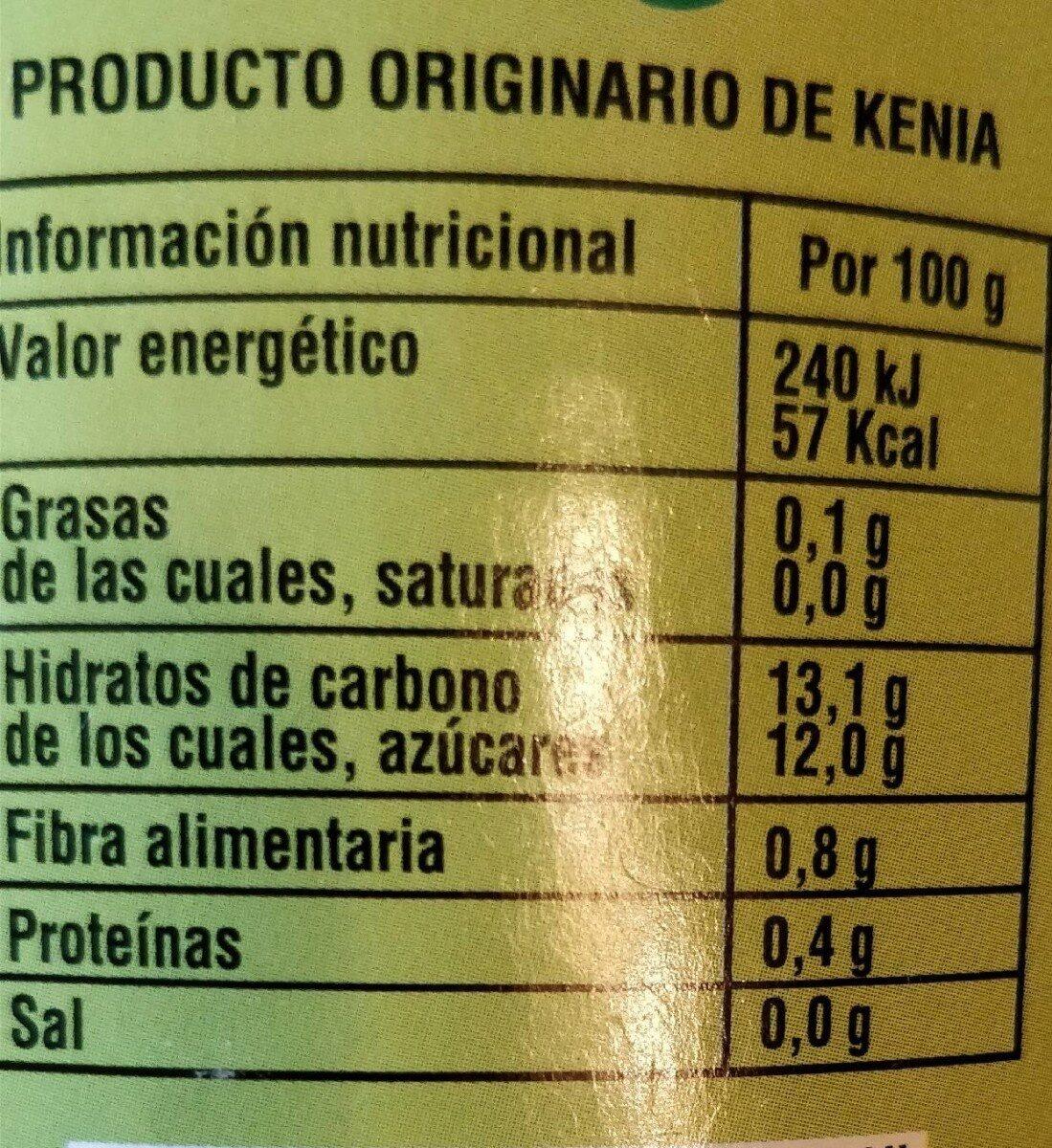 Piña en rodajas en su jugo - Nutrition facts - es