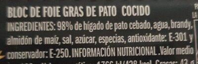 Bloc foie gra de pato - Ingrediënten