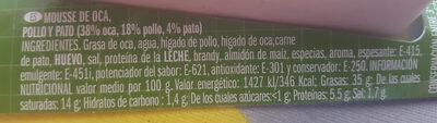 Mousse OCA mousse de granso - Informació nutricional - es