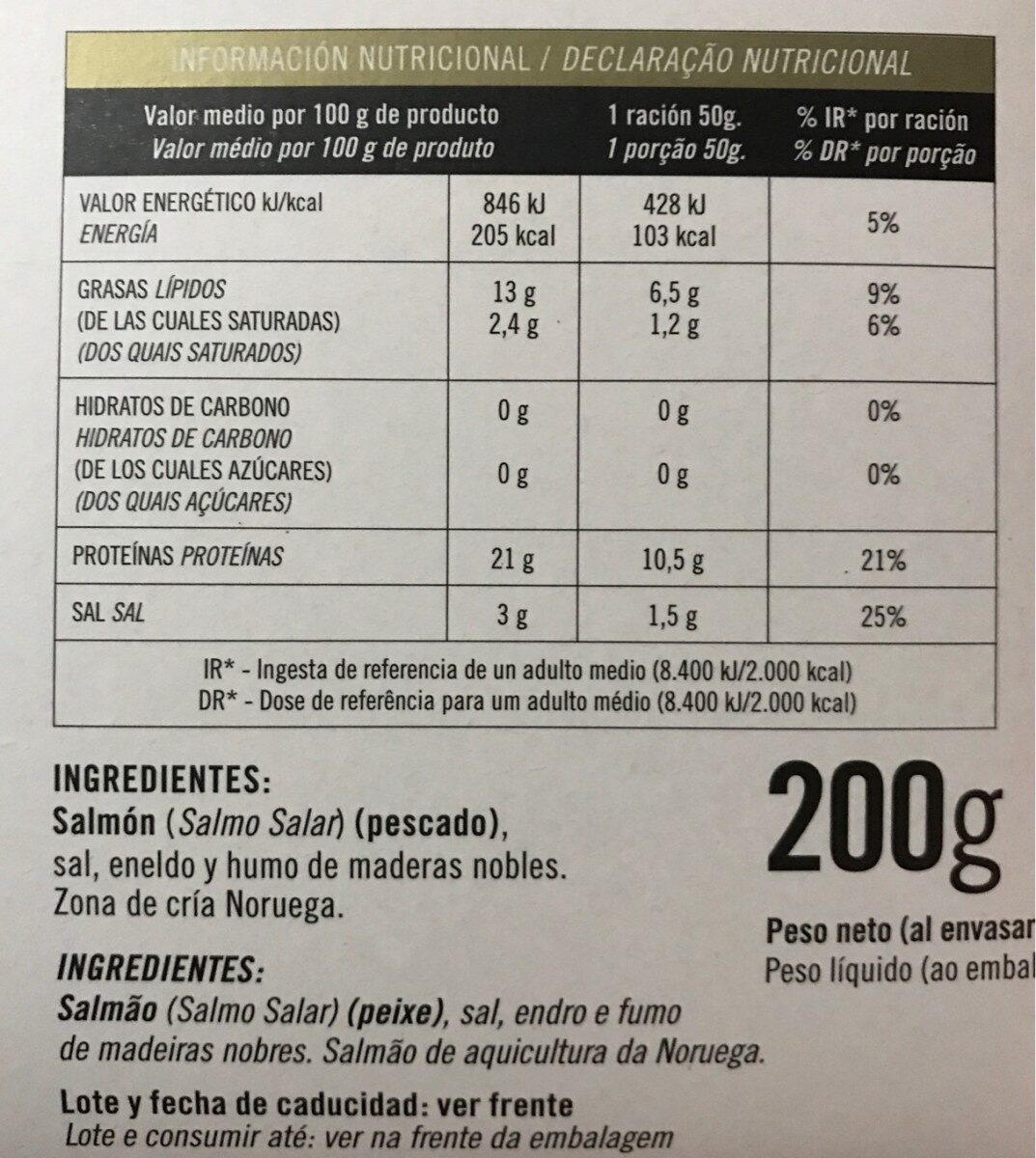 Salmón ahumado marinado - Nutrition facts