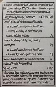 Pan de dátil con nueces - Información nutricional