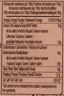 Pan de albaricoque con almendras - Nutrition facts