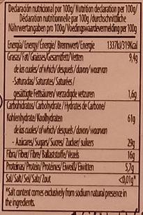 Pan de albaricoque con almendras - Información nutricional - es