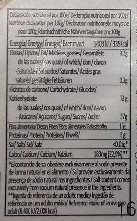 Pan de higo con almendras - Nutrition facts
