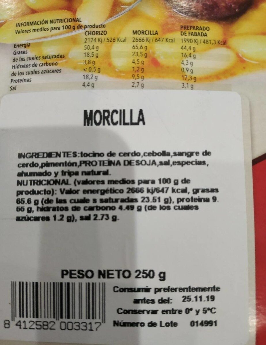 Morcilla - Nutrition facts - es