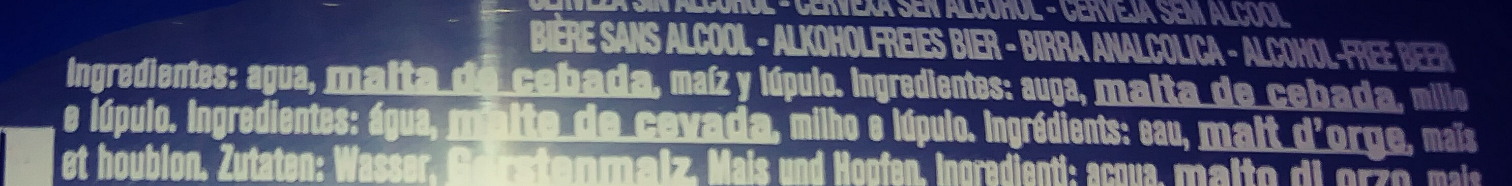 Cerveza sin alcohol - Ingredients - es