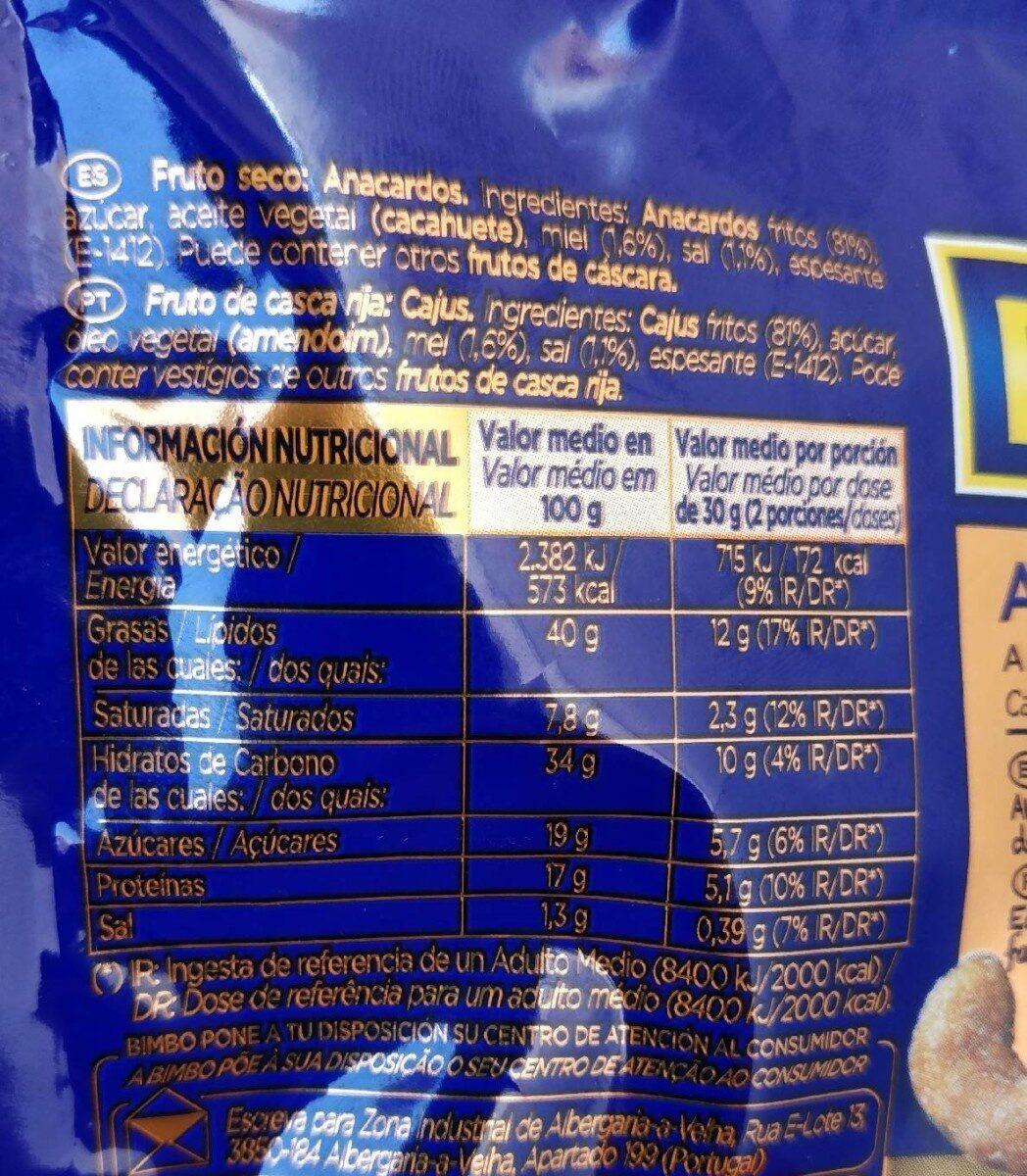 Anacardos dorados a la miel y sal - Informació nutricional - fr