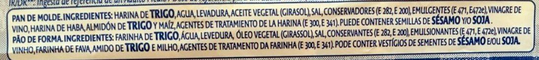 Pan de Molde Familiar con Corteza - Ingrédients - es
