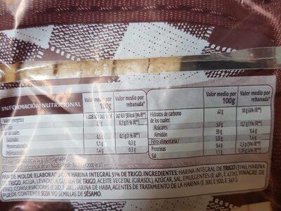 Pan hintegral - Información nutricional - es