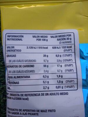 Takis Random - Informació nutricional