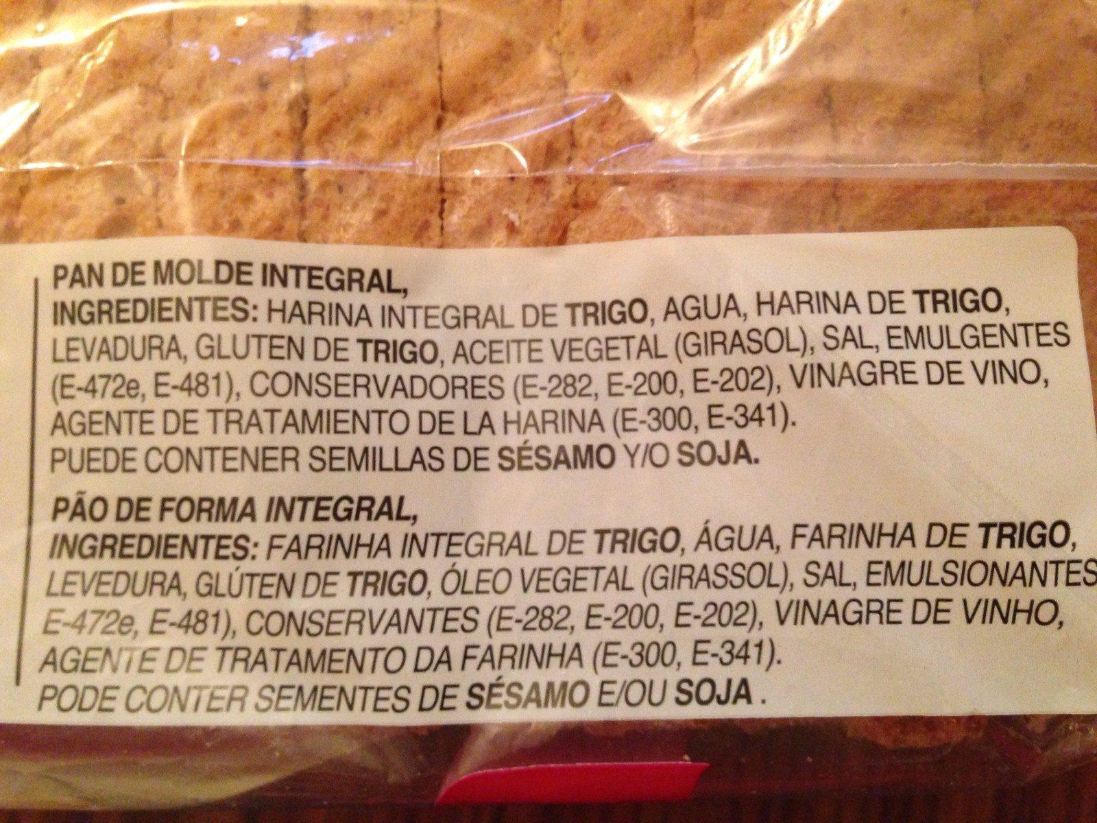 Pan de molde integral - Ingrédients
