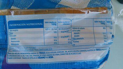 Pan de Molde Bimbo - Nutrition facts - pt