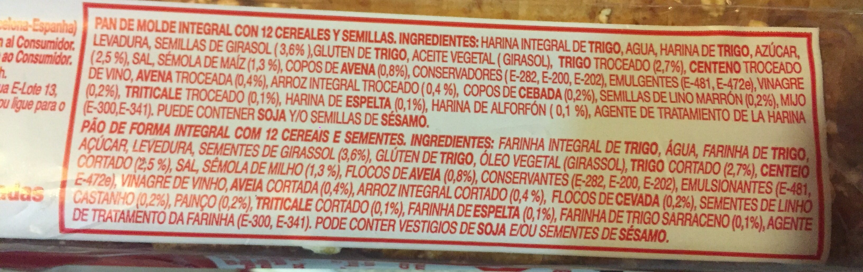 Oroweat 12 cereales y semillas - Ingrédients - fr