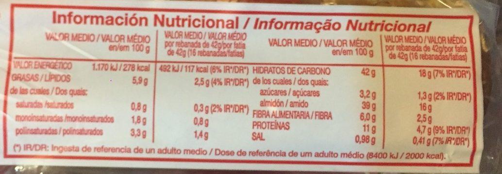 Oroweat 12 cereales y semillas - Informations nutritionnelles - fr