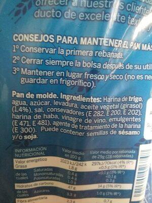 Pan de molde blanco - Información nutricional - es