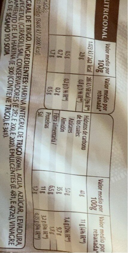 Pan Bimbo Integral - Voedingswaarden - es
